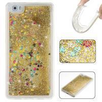 Glitters přesypací obal na mobil Huawei P8 Lite - zlatý