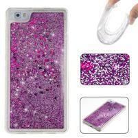 Glitters přesypací obal na mobil Huawei P8 Lite - fialový