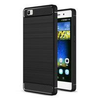 Carbon odolný obal se zesílenými rohy na Huawei P8 Lite - černý