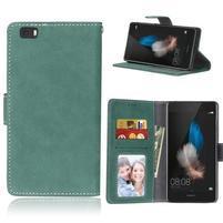 Vintage PU kožené pouzdro na mobil Huawei P8 Lite - zelené