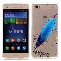 Meffi gelový obal na mobil Huawei P8 Lite - modré peříčko