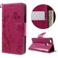 Motýlkové PU kožené pouzdro s poutkem na Huawei P9 Lite - rose