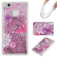 Glitter přesýpací gelový obal na mobil Huawei P9 Lite - motýlci
