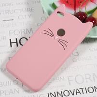 Cat 3D silikonový obal na Huawei P9 Lite (2017) - růžový