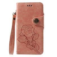 Roses PU kožené pouzdro s poutkem na Huawei P9 Lite (2017) - růžové