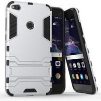 Defender odolný obal se stojánkem na mobil Huawei P9 Lite (2017) - stříbrný