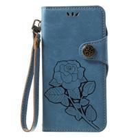 Roses PU kožené pouzdro s poutkem na Huawei P9 Lite (2017) - modré