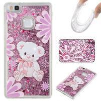 Glitter přesýpací gelový obal na mobil Huawei P9 Lite - medvídek
