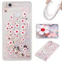 Glitter přesýpací gelový obal na mobil Huawei P9 Lite - květy a srdíčka