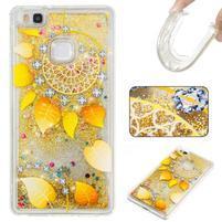 Glitter přesýpací gelový obal na mobil Huawei P9 Lite - zlatý věnec