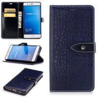 CrocoStyle Pu kožené zapínací pouzdro na Huawei P9 Lite - modré