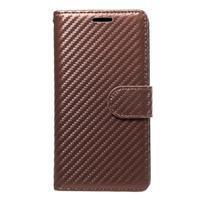 Carbon PU kožené pouzdro na Huawei P9 Lite - hnědé