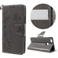 Motýlkové PU kožené pouzdro s poutkem na Huawei P9 Lite - šedé