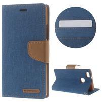 Canvas PU kožené/textilní pouzdro na Huawei P9 Lite - modré