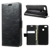 Crazy PU kožené puzdro na Huawei P9 Lite mini - čierne