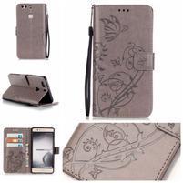 Motýlkové knížkové pouzdro na mobil Huawei P9 Plus - šedé