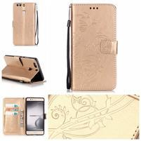 Motýlkové knížkové pouzdro na mobil Huawei P9 Plus - zlaté
