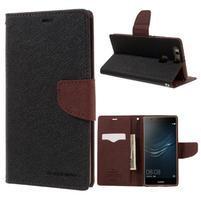 Diary PU kožené pouzdro na Huawei P9 Plus - černé/ hnědé