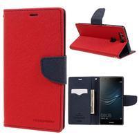 Diary PU kožené pouzdro na Huawei P9 Plus - červené