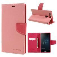 Diary PU kožené pouzdro na Huawei P9 Plus - růžové