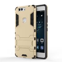 Defender odolný obal se stojánkem na Huawei P9 Plus - zlatý