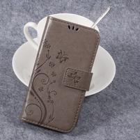 Butterfly PU kožené knížkové pouzdro na Huawei Y3 II - šedé