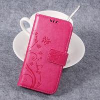 Butterfly PU kožené knížkové pouzdro na Huawei Y3 II - rose