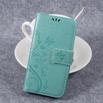 Butterfly PU kožené knížkové pouzdro na Huawei Y3 II - cyan