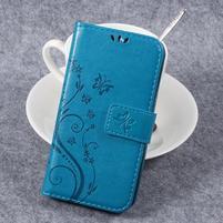 Butterfly PU kožené knížkové pouzdro na Huawei Y3 II - modré