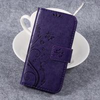 Butterfly PU kožené knížkové pouzdro na Huawei Y3 II - fialové