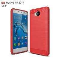Carbo odolný obal na mobil Huawei Y6 (2017) - červený
