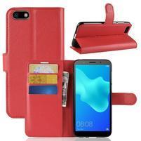 Litch PU kožené peněženkové pouzdro na Huawei Y5 (2018) - červené