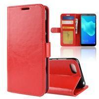 Crazy PU kožené peněženkové pouzdro na Huawei Y5 (2018) - červené