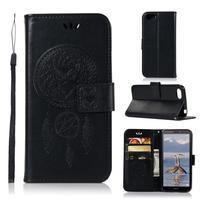 Dream PU kožené peněženkové pouzdro na mobil Huawei Y5 (2018) - černé