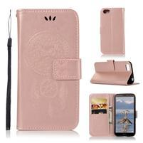 Dream PU kožené peněženkové pouzdro na mobil Huawei Y5 (2018) - růžovozlaté