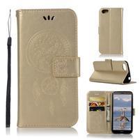 Dream PU kožené peněženkové pouzdro na mobil Huawei Y5 (2018) - zlaté