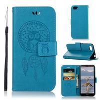 Dream PU kožené peněženkové pouzdro na mobil Huawei Y5 (2018) - modré
