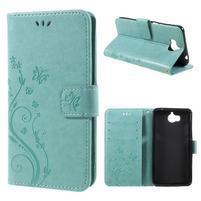Butterfly PU kožené peněženkové pouzdro na Huawei Y6 (2017) - zelenomodré