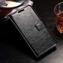 Standy PU kožené pouzdro na Huawei Y6 II Compact - černé