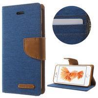 Canvas PU kožené/textilní pouzdro na iPhone 7 - modré