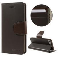 Sonata PU kožené pouzdro na mobil iPhone 7 a iPhone 8 - tmavěhnědé