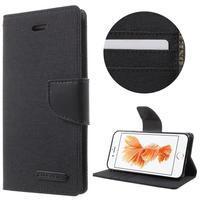 Canvas PU kožené/textilní pouzdro na iPhone 7 a iPhone 8 - černé