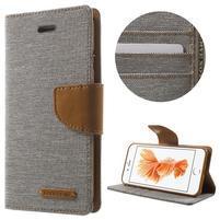 Canvas PU kožené/textilní pouzdro na iPhone 7 - šedé