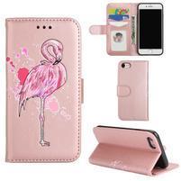 Plameňák PU kožené pouzdro na iPhone 7 a iPhone 8 - růžovozlaté
