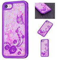 Sweet přesýpací gelový obal na iPhone 8 a iPhone 7 - růže a motýlkové