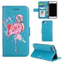 Plameňák PU kožené pouzdro na iPhone 7 a iPhone 8 - modré