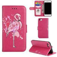 Plameňák PU kožené pouzdro na iPhone 7 a iPhone 8 - rose