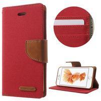 Canvas PU kožené/textilní pouzdro na iPhone 7 a iPhone 8 - červené