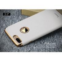 Luxy gelový obal se zlatým lemem na mobil iPhone 7 Plus - bílý