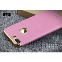 Luxy gelový obal se zlatým lemem na mobil iPhone 7 Plus - rose